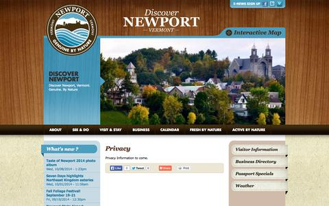 Screenshot of Privacy Page discovernewportvt.com - Privacy | Discover Newport - captured Oct. 26, 2014