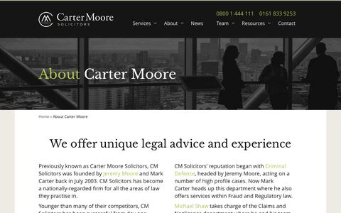 Screenshot of About Page cmsolicitors.co.uk - About Carter Moore - Carter Moore Solicitors, Manchester - captured Sept. 22, 2018