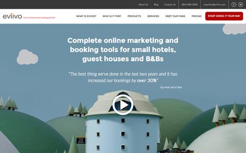 Screenshot of Home Page eviivo.com - Online Accommodation Booking & Reservation solutions   eviivo - captured Jan. 21, 2015