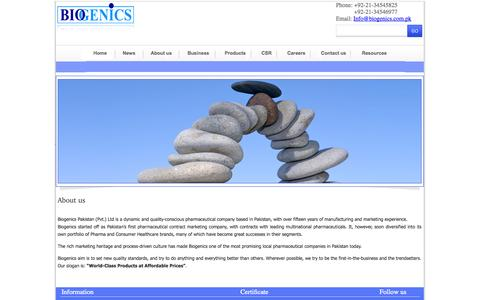 Screenshot of About Page biogenics.com.pk - Biogenics - captured Oct. 5, 2014
