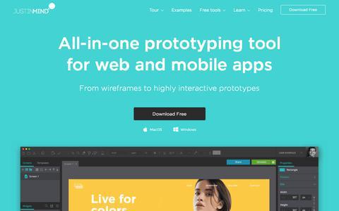 Screenshot of Home Page justinmind.com - Free prototyping tool for web & mobile apps - Justinmind - captured Nov. 3, 2019