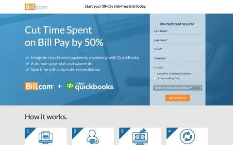 Screenshot of Landing Page bill.com - Cut Time Spent on Bill Pay in Half - Bill.com + Intuit QuickBooks | Bill.com - captured March 1, 2018
