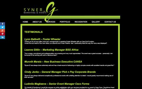 Screenshot of Testimonials Page syner-g.co.za - Planning an Event | Conference Management Companies | Event Management | Johannesburg | South Africa - captured Oct. 7, 2014