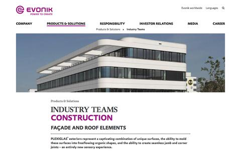 Facade and Roof Elements - Construction Industry - Evonik Industries AG
