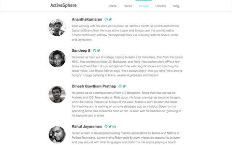 Screenshot of Team Page activesphere.com - ActiveSphere Team :: ActiveSphere - Bangalore based Ruby Rails JavaScript consulting - captured Dec. 23, 2015