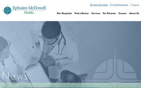 Screenshot of Press Page emhealth.org - News - Ephraim McDowell Health - captured Nov. 10, 2018