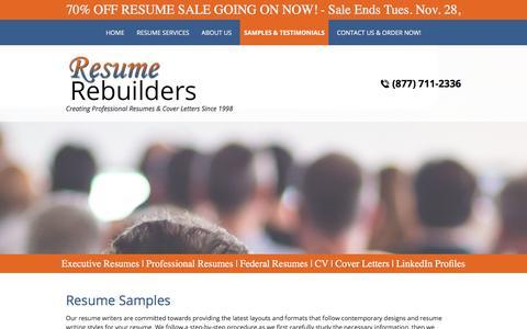 Screenshot of Testimonials Page resumerebuilders.com - Resume Samples and Examples | resumerebuilders.com - captured Nov. 10, 2017