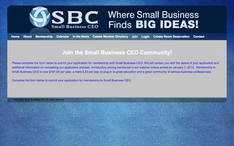 Screenshot of Signup Page sbceo.com - Member Signup | Small Business CEO | Small Business Marketing | Small Business Resources - captured Oct. 7, 2014