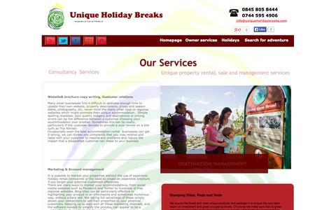 Screenshot of Services Page uniqueholidaybreaks.co.uk - Unique Holiday Breaks   Services - captured Sept. 30, 2014