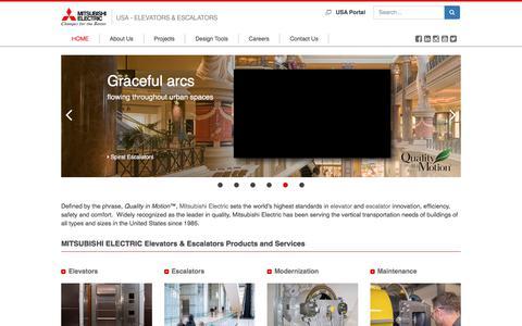 Screenshot of Home Page mitsubishielevator.com - Mitsubishi Electric Elevators & Escalators for the USA   Mitsubishi Electric Escalators and Elevators - captured Sept. 25, 2018