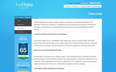 Screenshot of Testimonials Page telecommanagement.us - True Choice Telecom - captured Sept. 26, 2014