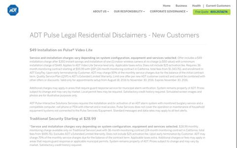 ADT Pulse Terms & Conditions - ADT Security Services