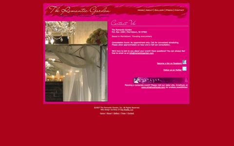 Screenshot of Contact Page romanticgarden.com - The Romantic Garden | Original - Sensuous - Organic | Morristown, NJ - captured Oct. 9, 2014
