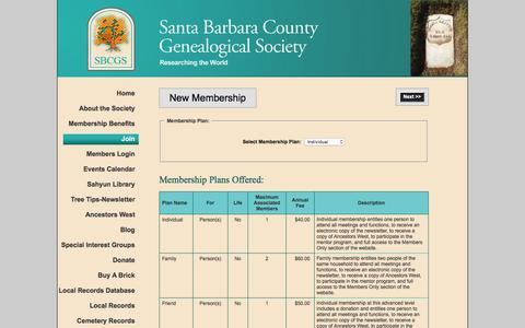 Screenshot of Signup Page sbgen.org - Santa Barbara County Genealogical Society - Join - captured Nov. 19, 2016
