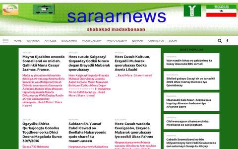 Screenshot of Home Page saraarnews.com - Saraarnews.com - captured April 1, 2017