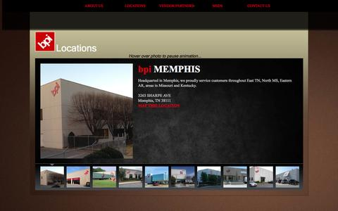 Screenshot of Locations Page bpiteam.com - bpi locations - captured Oct. 5, 2014