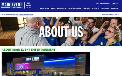 Screenshot of About Page mainevent.com - About Us   Main Event - captured Oct. 1, 2018