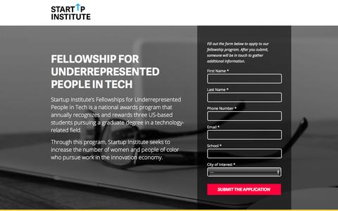 Screenshot of Landing Page startupinstitute.com captured June 17, 2016