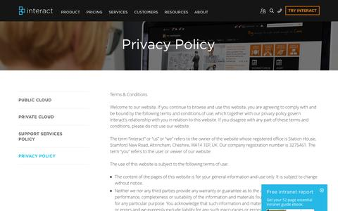Screenshot of interact-intranet.com - Privacy Policy | Interact Intranet Software - captured Oct. 2, 2015