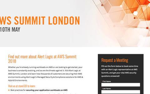 Screenshot of Landing Page alertlogic.com - Alert Logic at AWS Summit, 2018 - captured May 17, 2018