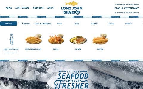 Screenshot of Menu Page ljsilvers.com - Long John Silver's  » Seafood - captured July 19, 2019