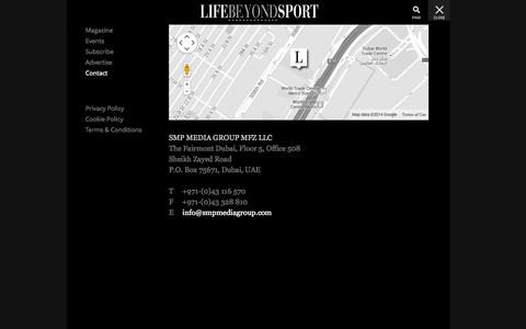 Screenshot of Contact Page lifebeyondsportmedia.com - Contact - Life Beyond Sport | Passion For Luxury & Lifestyle - captured Oct. 2, 2014