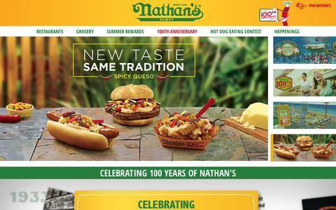 Screenshot of Home Page nathansfamous.com - Nathan's Famous Hot Dogs & Restaurants | Nathan's Famous - captured Sept. 22, 2016