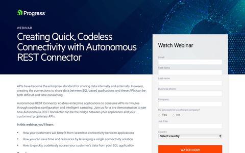 Screenshot of Landing Page progress.com - Webinar | Creating Quick, Codeless Connectivity with Autonomous REST Connector - captured July 17, 2019