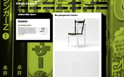 Screenshot of Products Page studioequator.com.au - studio equator, graphic design, interior design, web design, multimedia design, multidisciplinary design -  Melbourne Australia - Re-purposed chairs - Studio Equator - captured Oct. 9, 2014