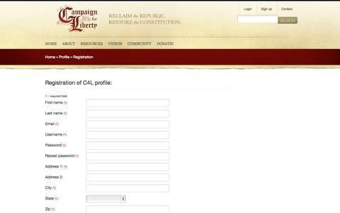 Screenshot of Signup Page campaignforliberty.org - Profile - Campaign for Liberty - captured Sept. 19, 2014