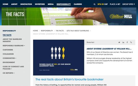 Screenshot of williamhillplc.com - William Hill PLC: About diverse leadership at William Hill...                 - Lets talk about gambling                 - The Facts                 - Responsibility - captured March 19, 2016