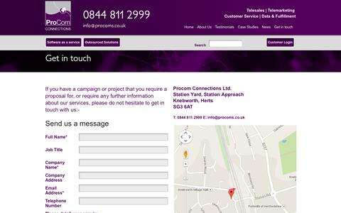 Screenshot of Contact Page procoms.co.uk - Get in touch | ProCom Connections - captured Oct. 3, 2014