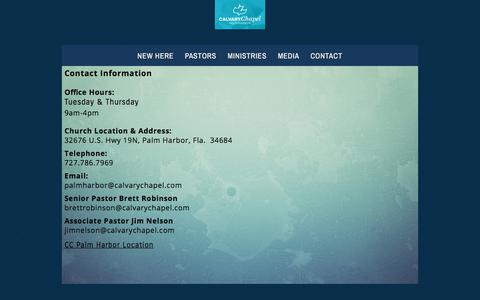 Screenshot of Contact Page ccpalmharbor.org - CONTACT «  Calvary Chapel Palm Harbor - captured July 12, 2017