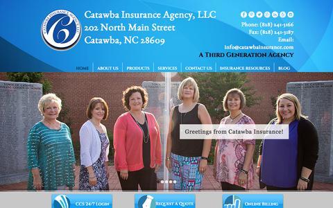 Screenshot of Home Page catawbainsurance.com - Catawba Insurance Agency, LLC - captured July 5, 2017