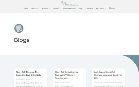 Screenshot of Blog vitrobiopharma.com - Stem Cell Therapies and Regenerative Medicine Blogs - captured Nov. 7, 2018