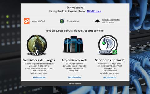 Screenshot of Home Page cerberusclub.eu - ¡Enhorabuena! Ha registrado su Alojamiento con AlienHost. - captured Nov. 1, 2016