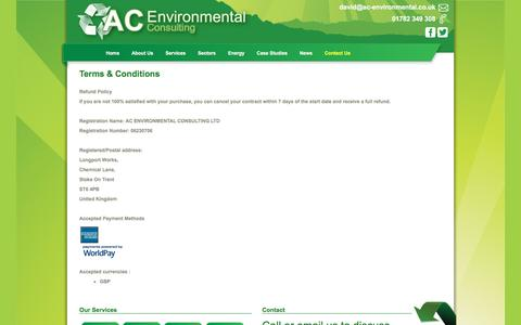 Screenshot of Terms Page ac-environmental.co.uk - AC Environmental :: Terms & Conditions - captured Nov. 19, 2016
