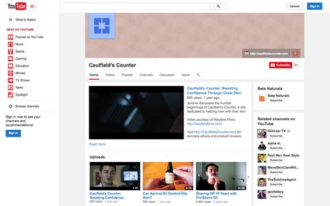 Screenshot of YouTube Page youtube.com - Caulfield's Counter  - YouTube - captured Oct. 22, 2014