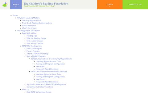 Screenshot of Site Map Page readingfoundation.org - Site Map - Reading Foundation - captured June 12, 2017