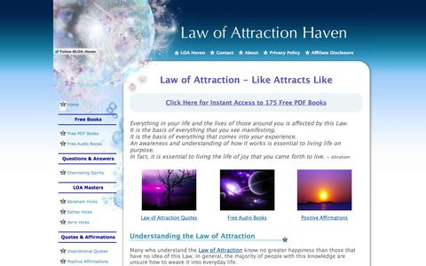 Screenshot of Home Page law-of-attraction-haven.com - The Law of Attraction: Like Attracts Like - captured Sept. 19, 2014