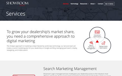 Screenshot of Services Page showroomlogic.com - Search Engine Marketing Services | Automotive Digital Marketing - captured May 11, 2016