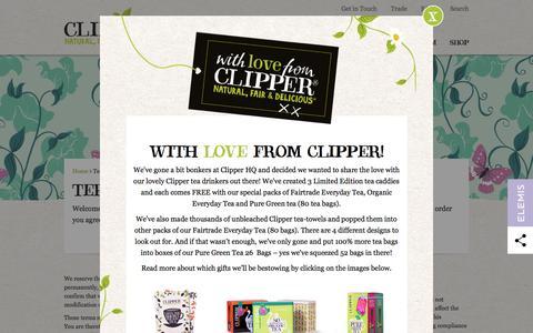 Screenshot of Terms Page clipper-teas.com - T's and C's   Clipper Teas - captured Nov. 7, 2016