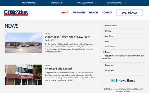 Screenshot of Press Page sellingmedinacounty.com - News | Gerspacher Real Estate Group - captured Sept. 28, 2018