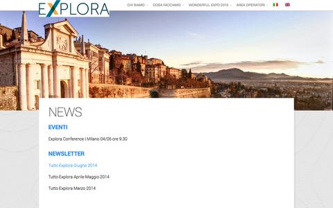Screenshot of Press Page exploratourism.it - NEWS - Explora Tourism - captured Sept. 30, 2014