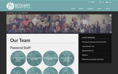 Screenshot of Team Page bethany-ag.org - Our Team - captured Oct. 5, 2014
