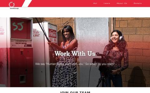 Screenshot of Jobs Page breakthrough.tv - Work With Us - Breakthrough U.S. - captured Nov. 23, 2016