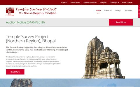 Screenshot of Home Page tspasibhopal.nic.in - Home | Temple Survey Project(Northern Region), Bhopal - captured Oct. 23, 2018