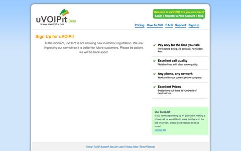 Screenshot of Signup Page uvoipit.com - Register for Your Free Account - uVOIPit - captured Sept. 30, 2014