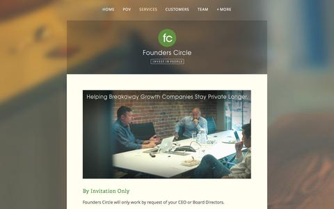 Screenshot of Services Page founderscircle.com - Services — Founders Circle - captured Oct. 29, 2014