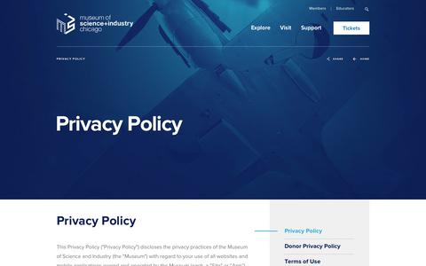 Screenshot of Privacy Page msichicago.org - Privacy Policy - Museum of Science and Industry - captured Sept. 24, 2018